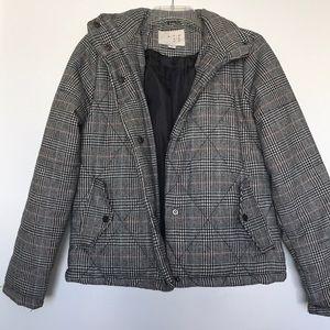 Tweed pattern puffer jacket
